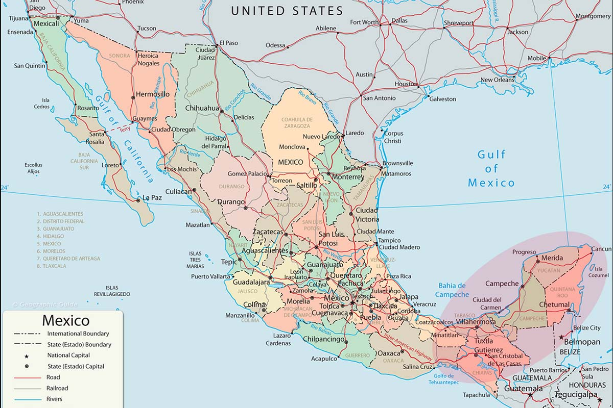 Messico viaggi vacanze e turismo fai da te itinerari - Mappa messico mappa da colorare pagina ...