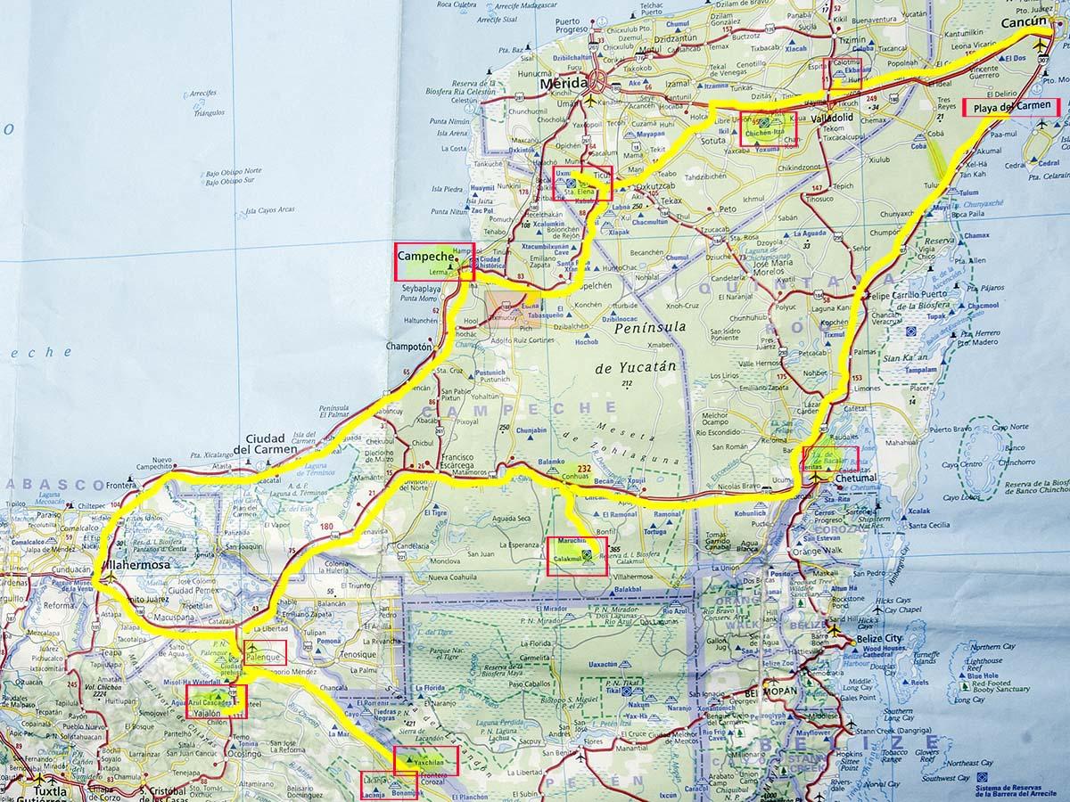 Cartina Yucatan E Chiapas.Itinerari Di Viaggio Self Drive In Messico Diariovacanze It